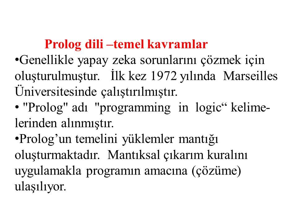 Prolog dili –temel kavramlar Genellikle yapay zeka sorunlarını çözmek için oluşturulmuştur. İlk kez 1972 yılında Marseilles Üniversitesinde çalıştırıl