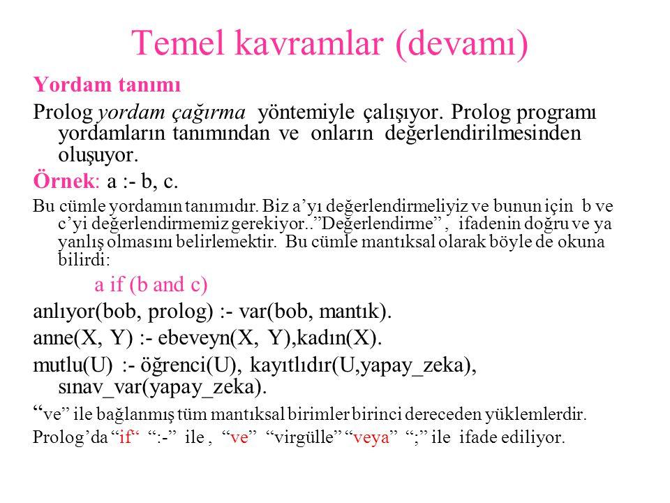 Hesaplama Örnek: a :- b, c.(bu örnekte a cümlenin başı, b,c metnidir.