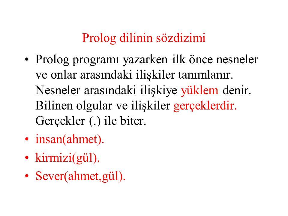 Prolog dilinin sözdizimi-kurallar Kurallar, gerçek olguları kullanarak bir sonuca varmak için kullanılır.