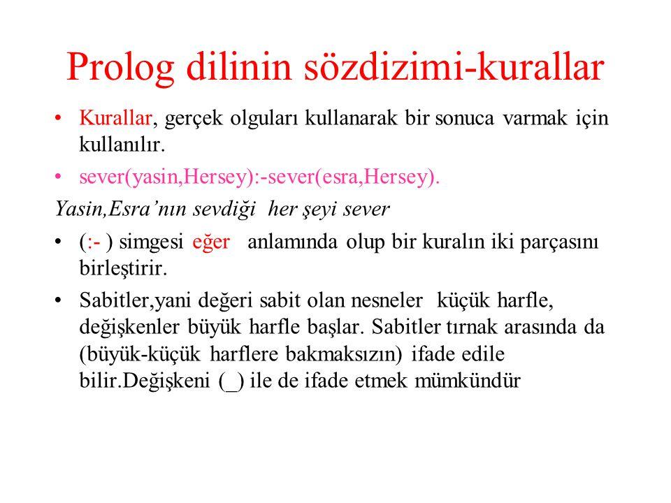 Prolog dilinin sözdizimi-kurallar Kurallar, gerçek olguları kullanarak bir sonuca varmak için kullanılır. sever(yasin,Hersey):-sever(esra,Hersey). Yas