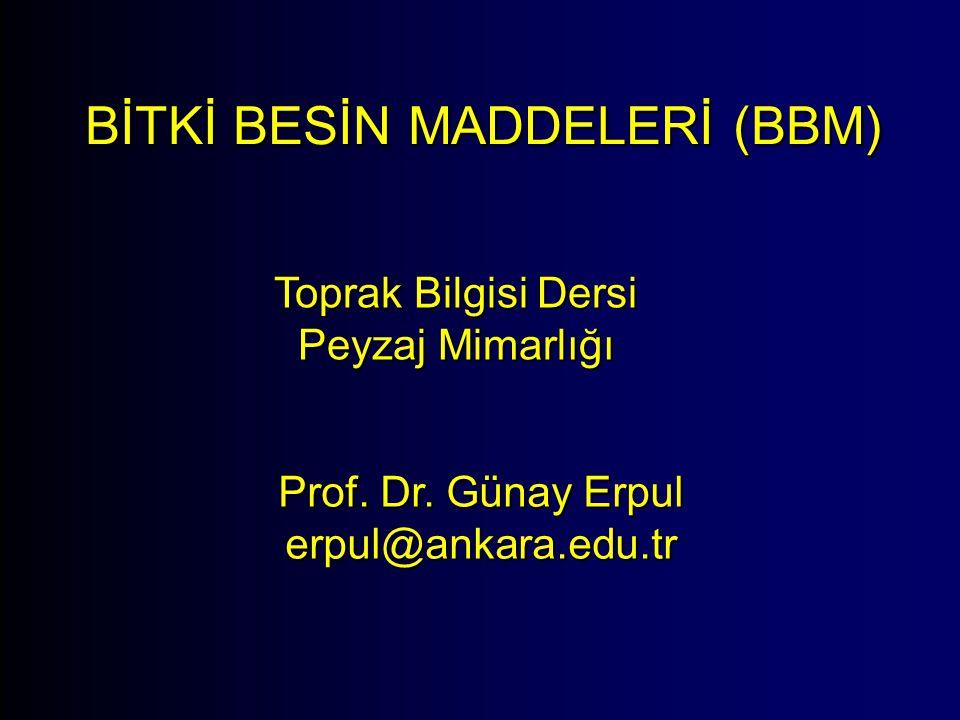 BİTKİ BESİN MADDELERİ (BBM) Toprak Bilgisi Dersi Peyzaj Mimarlığı Prof. Dr. Günay Erpul erpul@ankara.edu.tr