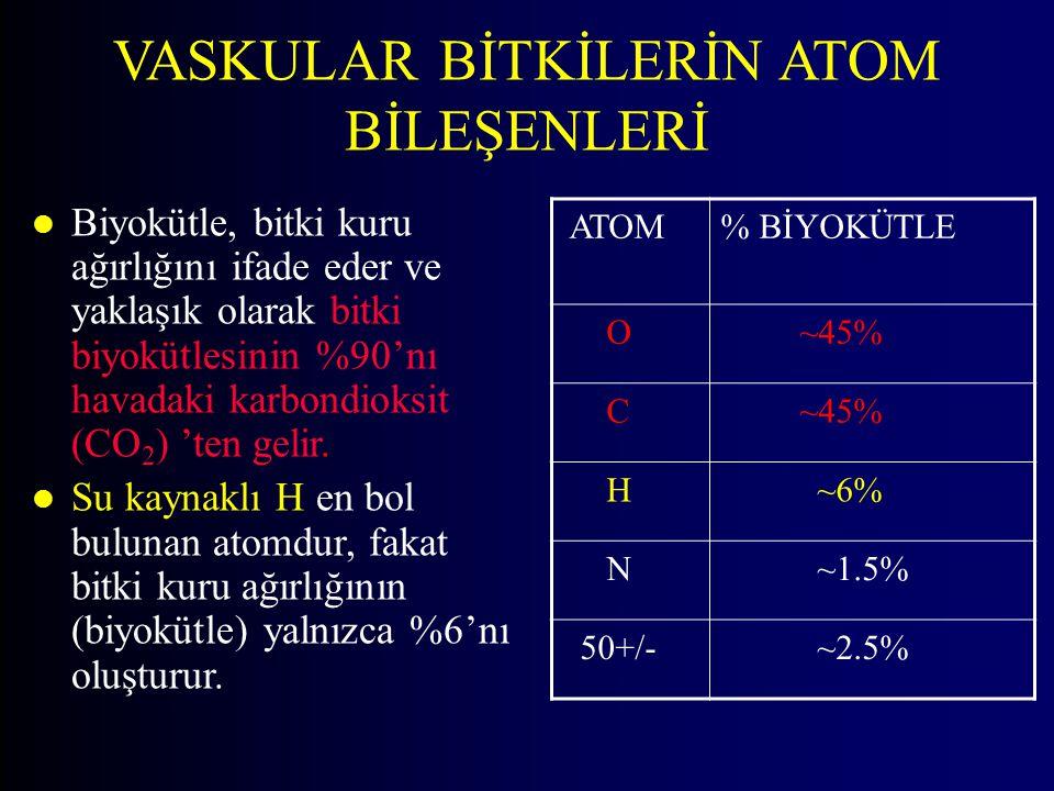 ATOM% BİYOKÜTLE O ~45% C H ~6% N ~1.5% 50+/- ~2.5% l Biyokütle, bitki kuru ağırlığını ifade eder ve yaklaşık olarak bitki biyokütlesinin %90'nı havada