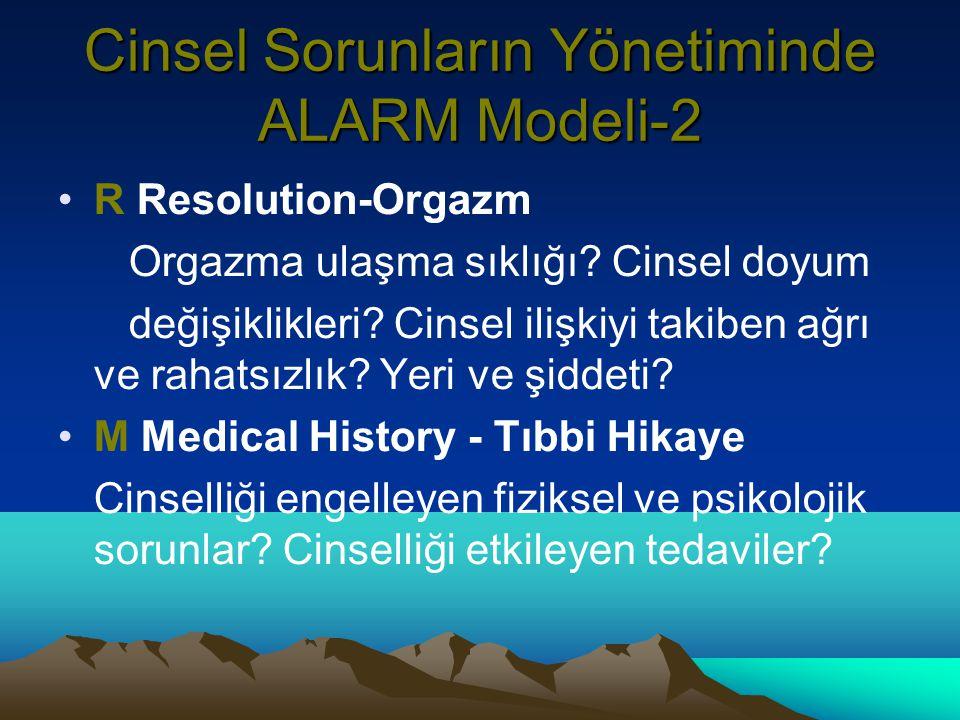 Cinsel Sorunların Yönetiminde ALARM Modeli-2 R Resolution-Orgazm Orgazma ulaşma sıklığı.