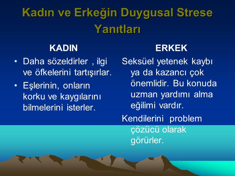 Kadın ve Erkeğin Duygusal Strese Yanıtları KADIN Daha sözeldirler, ilgi ve öfkelerini tartışırlar.