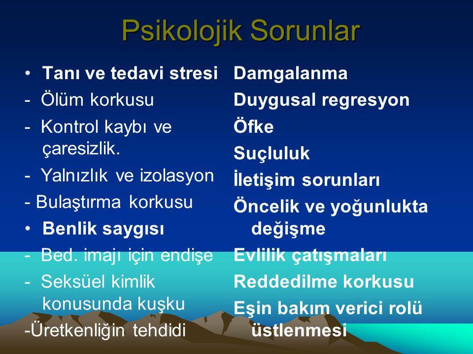 Psikolojik Sorunlar Tanı ve tedavi stresi - Ölüm korkusu - Kontrol kaybı ve çaresizlik. - Yalnızlık ve izolasyon - Bulaştırma korkusu Benlik saygısı -