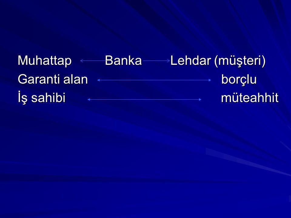 MuhattapBanka Lehdar (müşteri) Garanti alanborçlu İş sahibi müteahhit
