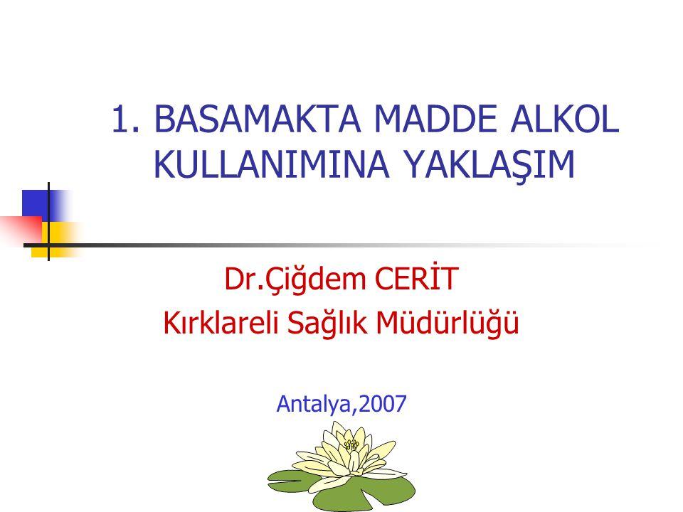 1. BASAMAKTA MADDE ALKOL KULLANIMINA YAKLAŞIM Dr.Çiğdem CERİT Kırklareli Sağlık Müdürlüğü Antalya,2007