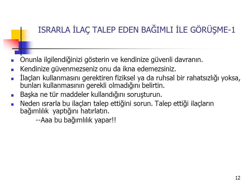 12 ISRARLA İLAÇ TALEP EDEN BAĞIMLI İLE GÖRÜŞME-1 Onunla ilgilendiğinizi gösterin ve kendinize güvenli davranın.