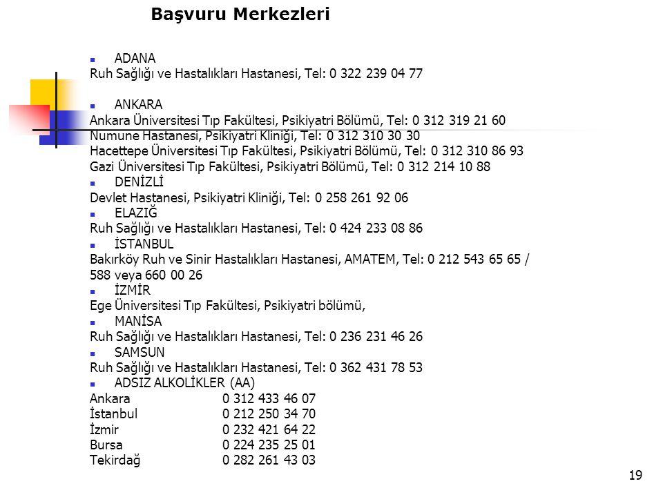 19 ADANA Ruh Sağlığı ve Hastalıkları Hastanesi, Tel: 0 322 239 04 77 ANKARA Ankara Üniversitesi Tıp Fakültesi, Psikiyatri Bölümü, Tel: 0 312 319 21 60 Numune Hastanesi, Psikiyatri Kliniği, Tel: 0 312 310 30 30 Hacettepe Üniversitesi Tıp Fakültesi, Psikiyatri Bölümü, Tel: 0 312 310 86 93 Gazi Üniversitesi Tıp Fakültesi, Psikiyatri Bölümü, Tel: 0 312 214 10 88 DENİZLİ Devlet Hastanesi, Psikiyatri Kliniği, Tel: 0 258 261 92 06 ELAZIĞ Ruh Sağlığı ve Hastalıkları Hastanesi, Tel: 0 424 233 08 86 İSTANBUL Bakırköy Ruh ve Sinir Hastalıkları Hastanesi, AMATEM, Tel: 0 212 543 65 65 / 588 veya 660 00 26 İZMİR Ege Üniversitesi Tıp Fakültesi, Psikiyatri bölümü, MANİSA Ruh Sağlığı ve Hastalıkları Hastanesi, Tel: 0 236 231 46 26 SAMSUN Ruh Sağlığı ve Hastalıkları Hastanesi, Tel: 0 362 431 78 53 ADSIZ ALKOLİKLER (AA) Ankara0 312 433 46 07 İstanbul0 212 250 34 70 İzmir0 232 421 64 22 Bursa0 224 235 25 01 Tekirdağ0 282 261 43 03 Başvuru Merkezleri