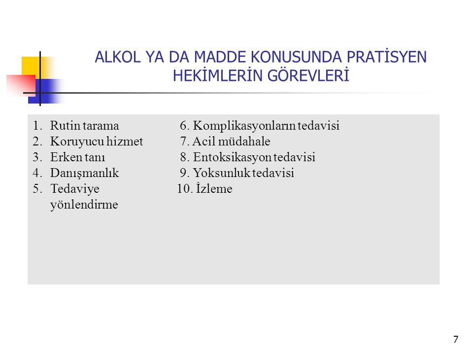 18 SEVK NASIL OLMALIDIR.Tüm madde alkol bağımlı tedavi merkezleri randevu ile çalışır.