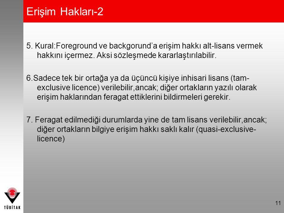Erişim Hakları-2 5. Kural:Foreground ve backgorund'a erişim hakkı alt-lisans vermek hakkını içermez. Aksi sözleşmede kararlaştırılabilir. 6.Sadece tek