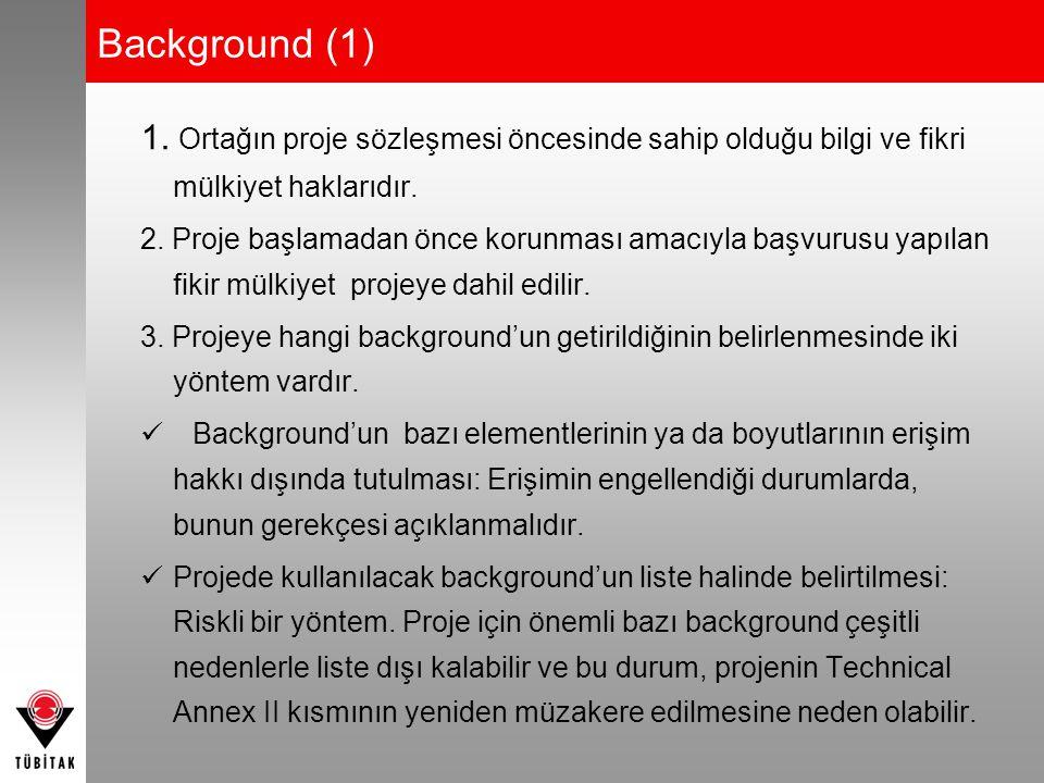 Background (1) 1. Ortağın proje sözleşmesi öncesinde sahip olduğu bilgi ve fikri mülkiyet haklarıdır. 2. Proje başlamadan önce korunması amacıyla başv