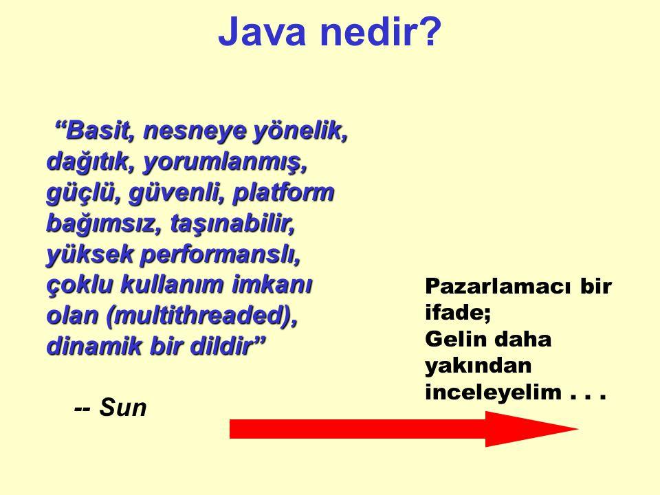 Java 'nın popülaritesi Java 'nın popülaritesinin püf noktaları: –Basit ve nesneye yönelik bir dil olması. –Java Virtual Machine sayesinde yazılan prog
