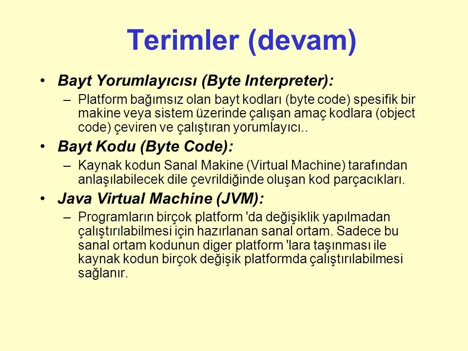 Terimler Modüler (Yapısal) Programlama (Structured Programming): –Programı düz bir akış halinde oluşturmak yerine işlevsel parçalara bölüp bu parçalar