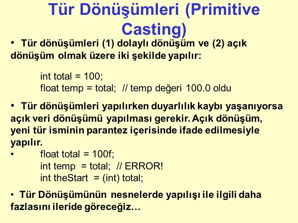 Örnekler Tam sayı sabitleri int kabul edildiği için başka tip değişkenlere atama yaparken çevirim gerekebilir: float maxGrade = 100f; // tutulan değer