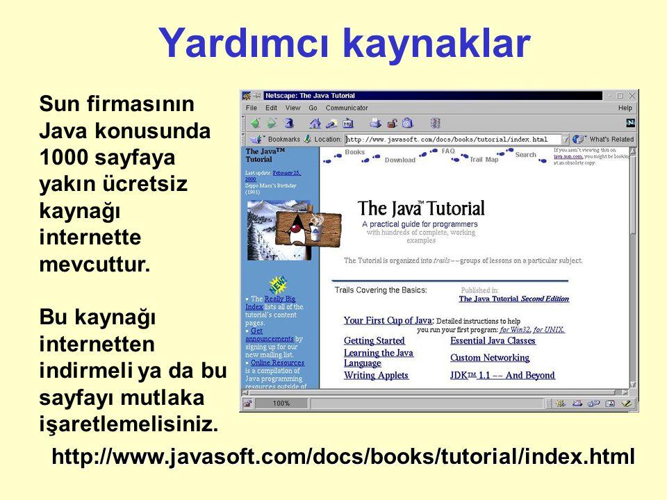 Java Harici Geleneksel Yöntem: Kaynak Kod İşletim Sistemine özel derleyici ya da yorumlayıcı İşletim Sistemine özel amaç kod Programı çalıştır Java 'nın yöntemi: Kaynak kod Java derleyicisi Bayt Kod (Byte Code) İşletim Sistemine özel JVM yorumlayıcısı İşletim Sistemine özel amaç kod Programı çalıştır Java 'nın Taşınabilirlik Özelliği Demo.javajavac Demo.javaDemo.class java Demo