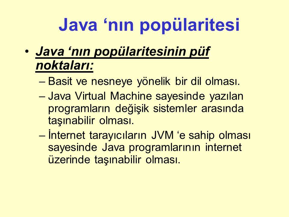 Java 'nın popülaritesi Java 'nın popülaritesinin püf noktaları: –Basit ve nesneye yönelik bir dil olması.