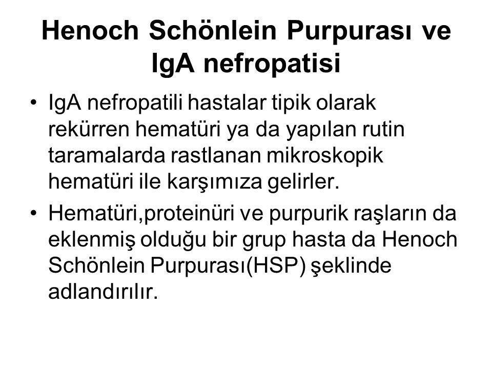 Henoch Schönlein Purpurası ve IgA nefropatisi IgA nefropatili hastalar tipik olarak rekürren hematüri ya da yapılan rutin taramalarda rastlanan mikros