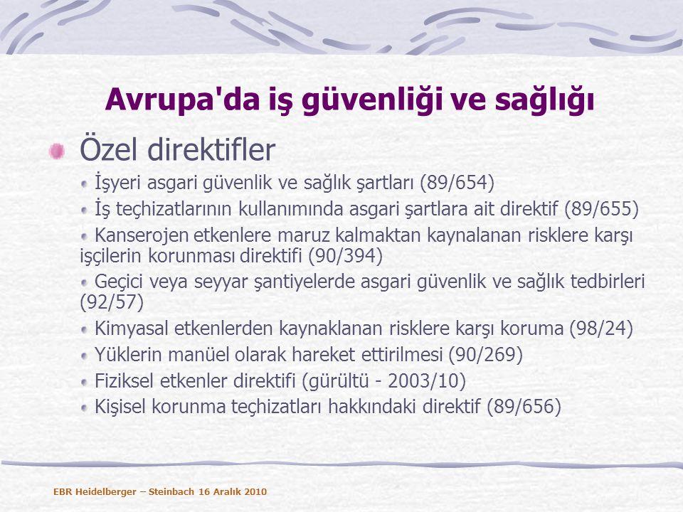 Avrupa da iş güvenliği ve sağlığı Özel direktifler İşyeri asgari güvenlik ve sağlık şartları (89/654) İş teçhizatlarının kullanımında asgari şartlara ait direktif (89/655) Kanserojen etkenlere maruz kalmaktan kaynalanan risklere karşı işçilerin korunması direktifi (90/394) Geçici veya seyyar şantiyelerde asgari güvenlik ve sağlık tedbirleri (92/57) Kimyasal etkenlerden kaynaklanan risklere karşı koruma (98/24) Yüklerin manüel olarak hareket ettirilmesi (90/269) Fiziksel etkenler direktifi (gürültü - 2003/10) Kişisel korunma teçhizatları hakkındaki direktif (89/656) EBR Heidelberger – Steinbach 16 Aralık 2010