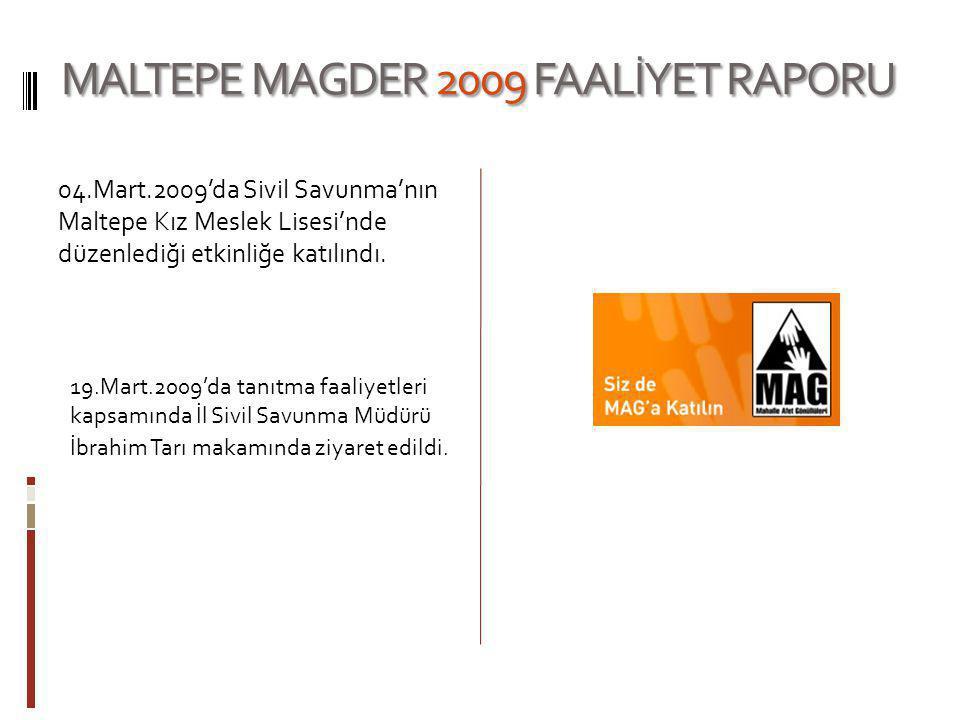 MALTEPE MAGDER 2009 FAALİYET RAPORU 04.Mart.2009'da Sivil Savunma'nın Maltepe Kız Meslek Lisesi'nde düzenlediği etkinliğe katılındı. 19.Mart.2009'da t