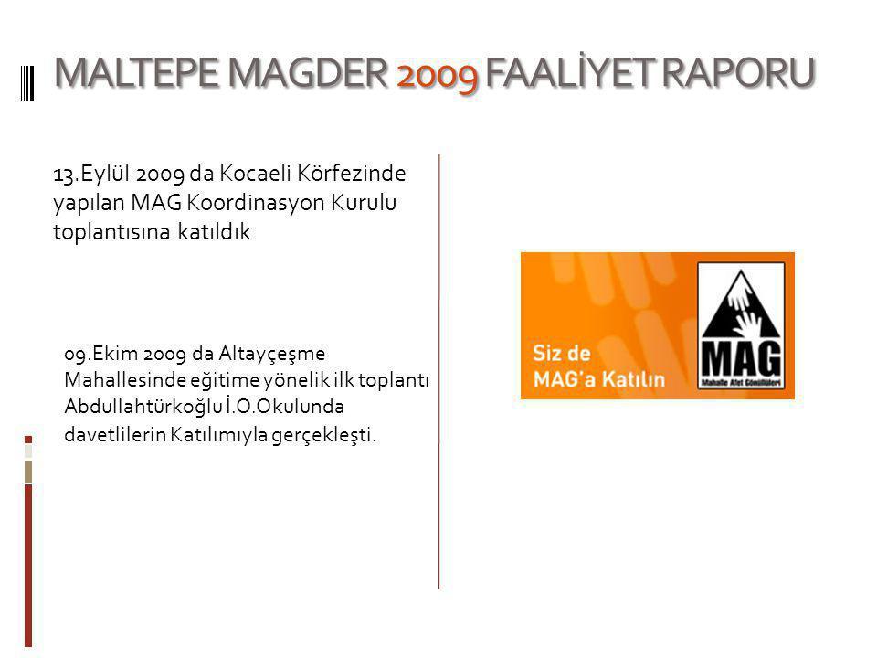 MALTEPE MAGDER 2009 FAALİYET RAPORU 13.Eylül 2009 da Kocaeli Körfezinde yapılan MAG Koordinasyon Kurulu toplantısına katıldık 09.Ekim 2009 da Altayçeş