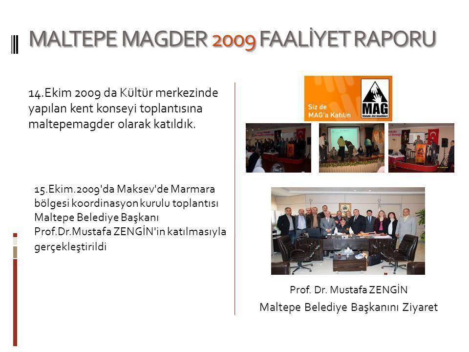 MALTEPE MAGDER 2009 FAALİYET RAPORU 14.Ekim 2009 da Kültür merkezinde yapılan kent konseyi toplantısına maltepemagder olarak katıldık. 15.Ekim.2009'da
