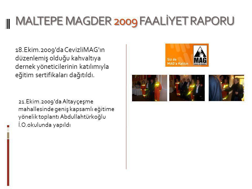 MALTEPE MAGDER 2009 FAALİYET RAPORU 18.Ekim.2009'da CevizliMAG'ın düzenlemiş olduğu kahvaltıya dernek yöneticilerinin katılımıyla eğitim sertifikaları