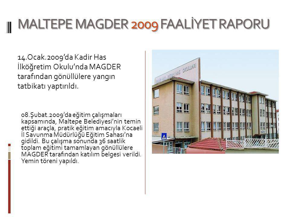 MALTEPE MAGDER 2009 FAALİYET RAPORU 11.Şubat.2009'da MAGDER'in desteği ile Maltepe Yalı Mahallesi Gönüllülerine ilk yardım eğitimi verildi.
