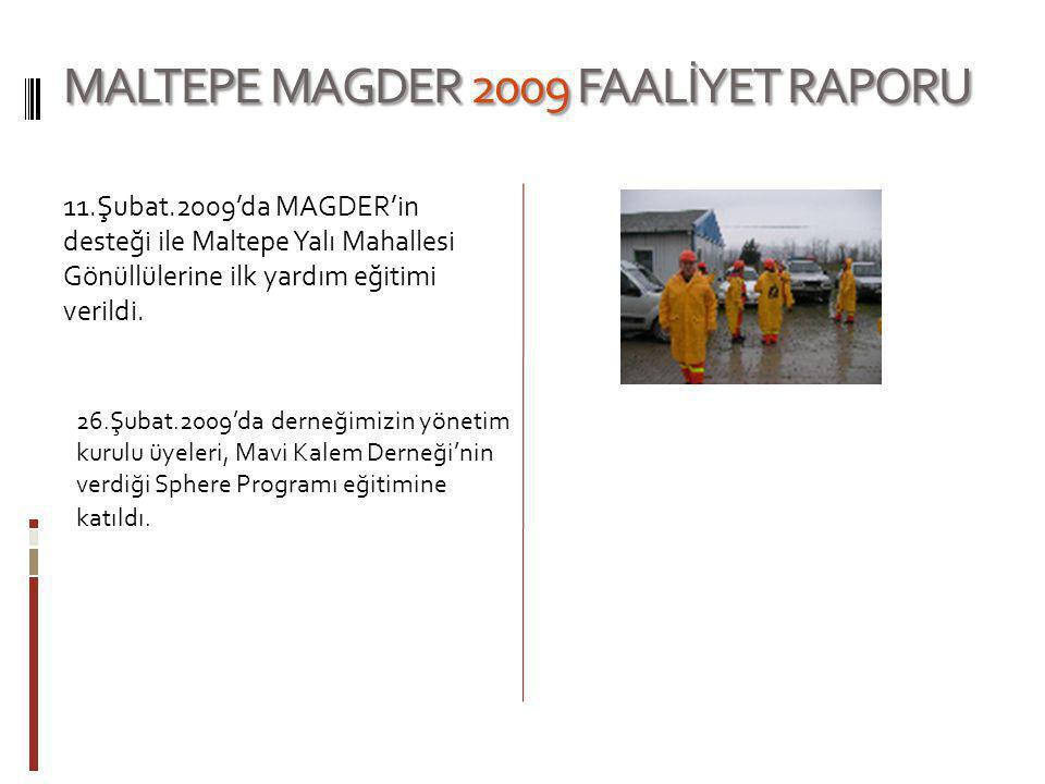 MALTEPE MAGDER 2009 FAALİYET RAPORU 11.Şubat.2009'da MAGDER'in desteği ile Maltepe Yalı Mahallesi Gönüllülerine ilk yardım eğitimi verildi. 26.Şubat.2