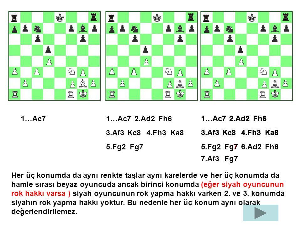 1…Ac7 2.Ad2Fh6 3.Af3Kc84.Fh3Ka8 5.Fg2Fg7 1…Ac72.Ad2Fh6 3.Af3Kc84.Fh3Ka8 5.Fg2Fg7 1…Ac72.Ad2Fh6 3.Af3Kc84.Fh3Ka8 5.Fg2Fg7 6.Ad2Fh6 7.Af3Fg7 Her üç konu