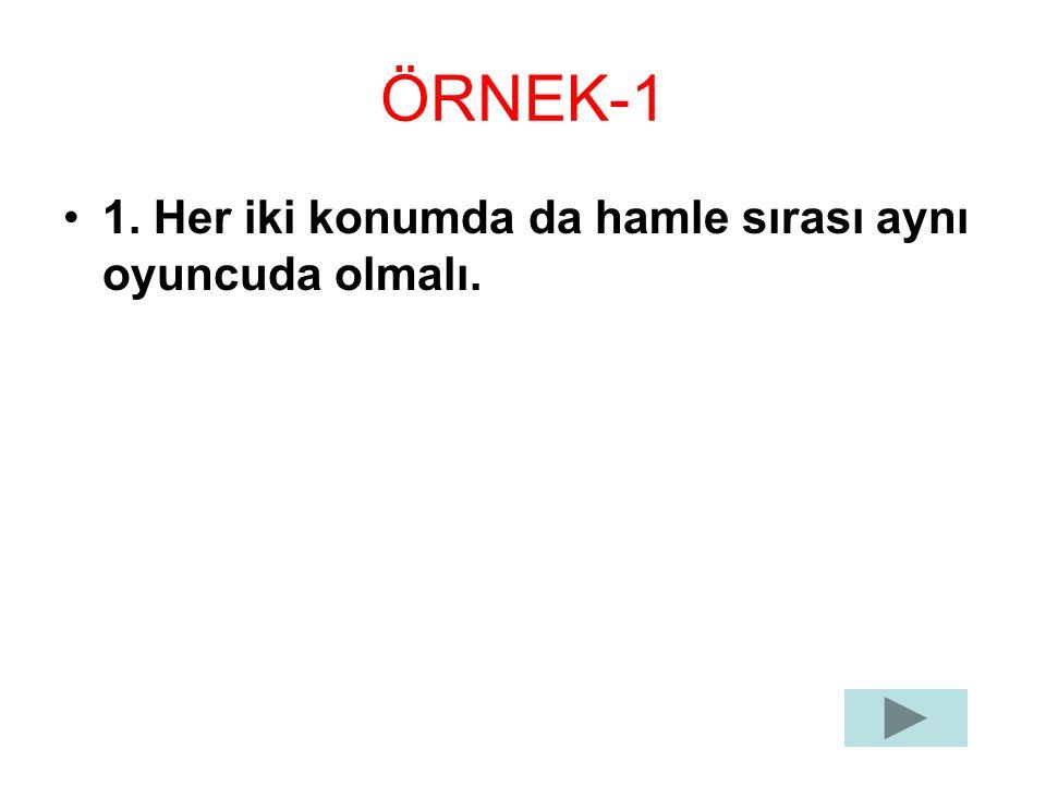 ÖRNEK-1 1. Her iki konumda da hamle sırası aynı oyuncuda olmalı.