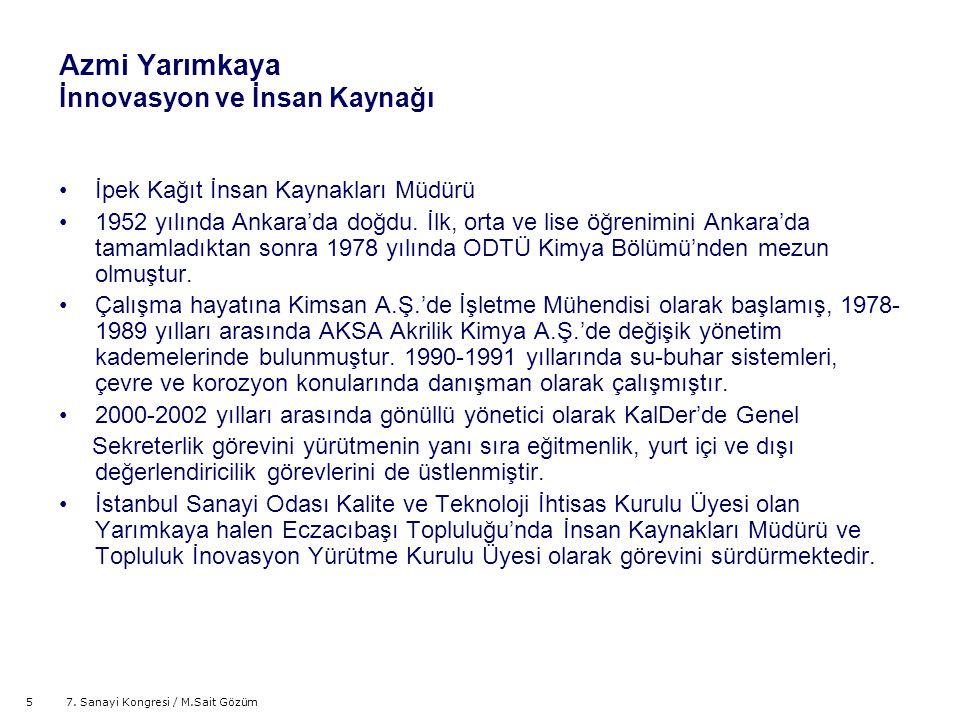 57. Sanayi Kongresi / M.Sait Gözüm Azmi Yarımkaya İnnovasyon ve İnsan Kaynağı İpek Kağıt İnsan Kaynakları Müdürü 1952 yılında Ankara'da doğdu. İlk, or