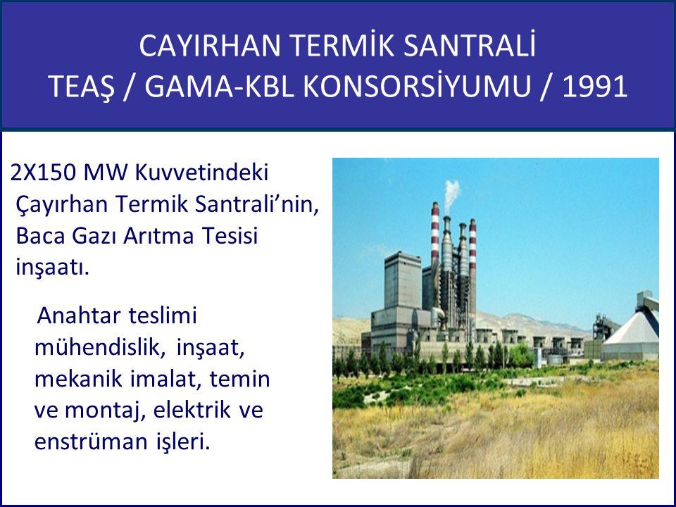 CAYIRHAN TERMİK SANTRALİ TEAŞ / GAMA-KBL KONSORSİYUMU / 1991 2X150 MW Kuvvetindeki Çayırhan Termik Santrali'nin, Baca Gazı Arıtma Tesisi inşaatı. Anah