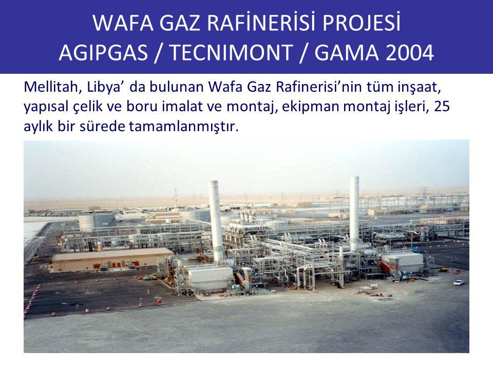 WAFA GAZ RAFİNERİSİ PROJESİ AGIPGAS / TECNIMONT / GAMA 2004 Mellitah, Libya' da bulunan Wafa Gaz Rafinerisi'nin tüm inşaat, yapısal çelik ve boru imal