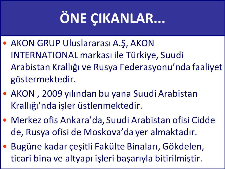 ÖNE ÇIKANLAR... AKON GRUP Uluslararası A.Ş, AKON INTERNATIONAL markası ile Türkiye, Suudi Arabistan Krallığı ve Rusya Federasyonu'nda faaliyet gösterm