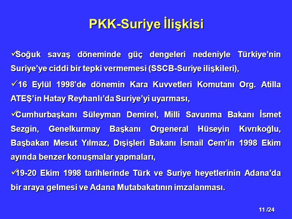 11 /24 PKK-Suriye İlişkisi Soğuk savaş döneminde güç dengeleri nedeniyle Türkiye'nin Suriye'ye ciddi bir tepki vermemesi (SSCB-Suriye ilişkileri), Soğ