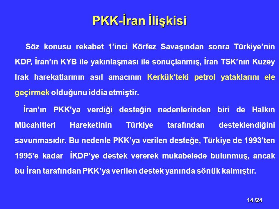 14 /24 PKK-İran İlişkisi Söz konusu rekabet 1'inci Körfez Savaşından sonra Türkiye'nin KDP, İran'ın KYB ile yakınlaşması ile sonuçlanmış, İran TSK'nın Kuzey Irak harekatlarının asıl amacının Kerkük'teki petrol yataklarını ele geçirmek olduğunu iddia etmiştir.