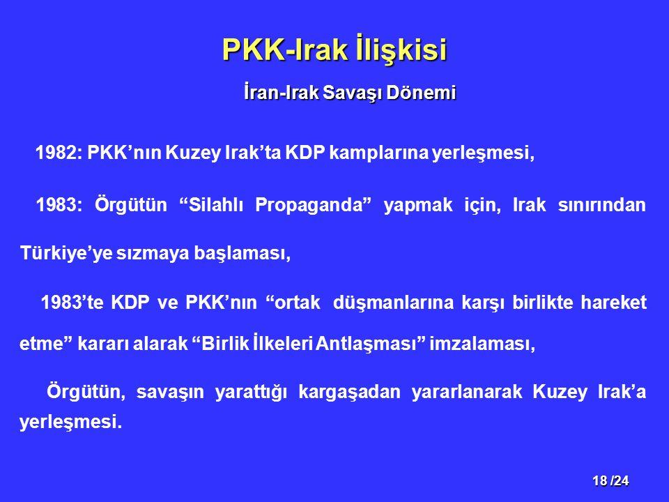 18 /24 PKK-Irak İlişkisi 1982: PKK'nın Kuzey Irak'ta KDP kamplarına yerleşmesi, 1983: Örgütün Silahlı Propaganda yapmak için, Irak sınırından Türkiye'ye sızmaya başlaması, 1983'te KDP ve PKK'nın ortak düşmanlarına karşı birlikte hareket etme kararı alarak Birlik İlkeleri Antlaşması imzalaması, Örgütün, savaşın yarattığı kargaşadan yararlanarak Kuzey Irak'a yerleşmesi.