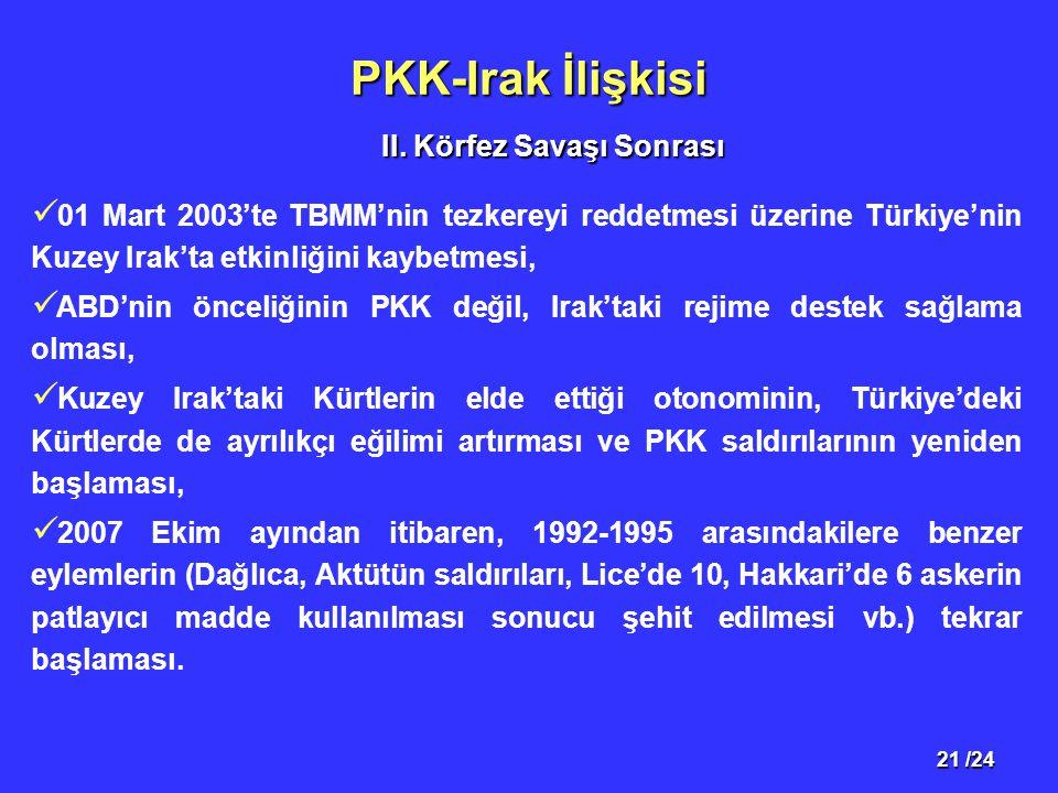 21 /24 PKK-Irak İlişkisi 01 Mart 2003'te TBMM'nin tezkereyi reddetmesi üzerine Türkiye'nin Kuzey Irak'ta etkinliğini kaybetmesi, ABD'nin önceliğinin PKK değil, Irak'taki rejime destek sağlama olması, Kuzey Irak'taki Kürtlerin elde ettiği otonominin, Türkiye'deki Kürtlerde de ayrılıkçı eğilimi artırması ve PKK saldırılarının yeniden başlaması, 2007 Ekim ayından itibaren, 1992-1995 arasındakilere benzer eylemlerin (Dağlıca, Aktütün saldırıları, Lice'de 10, Hakkari'de 6 askerin patlayıcı madde kullanılması sonucu şehit edilmesi vb.) tekrar başlaması.