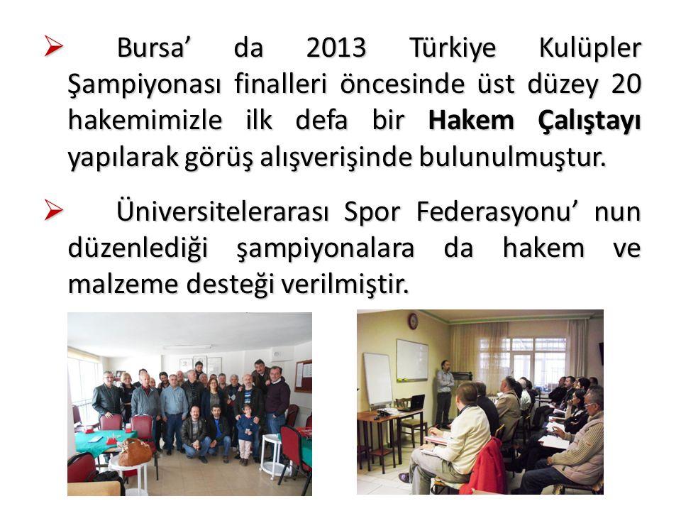  Bursa' da 2013 Türkiye Kulüpler Şampiyonası finalleri öncesinde üst düzey 20 hakemimizle ilk defa bir Hakem Çalıştayı yapılarak görüş alışverişinde bulunulmuştur.