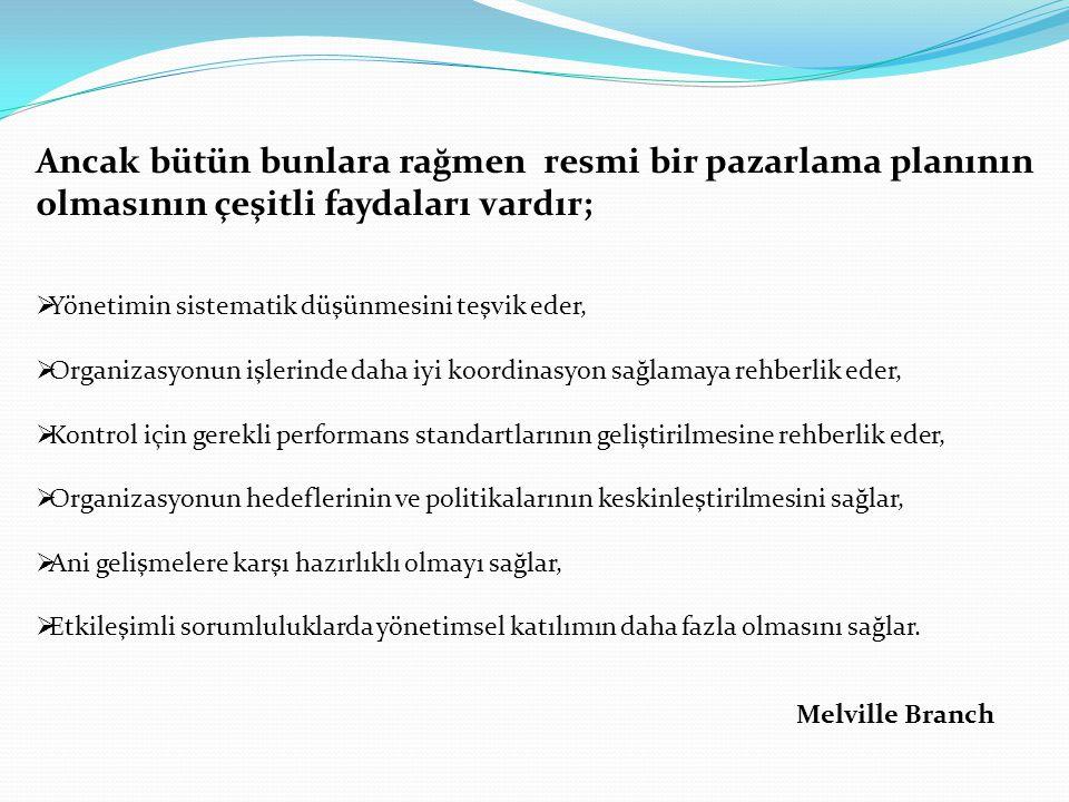 Melville Branch  Yönetimin sistematik düşünmesini teşvik eder,  Organizasyonun işlerinde daha iyi koordinasyon sağlamaya rehberlik eder,  Kontrol i