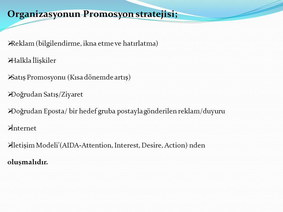 Organizasyonun Promosyon stratejisi;  Reklam (bilgilendirme, ikna etme ve hatırlatma)  Halkla İlişkiler  Satış Promosyonu (Kısa dönemde artış)  Do