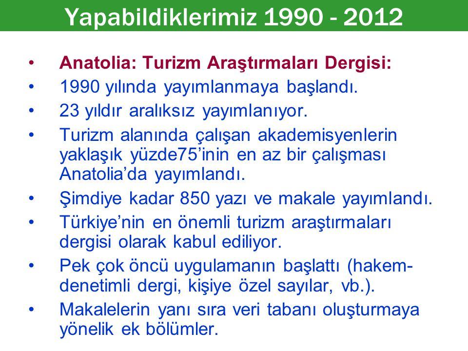 Anatolia: Turizm Araştırmaları Dergisi: 1990 yılında yayımlanmaya başlandı. 23 yıldır aralıksız yayımlanıyor. Turizm alanında çalışan akademisyenlerin