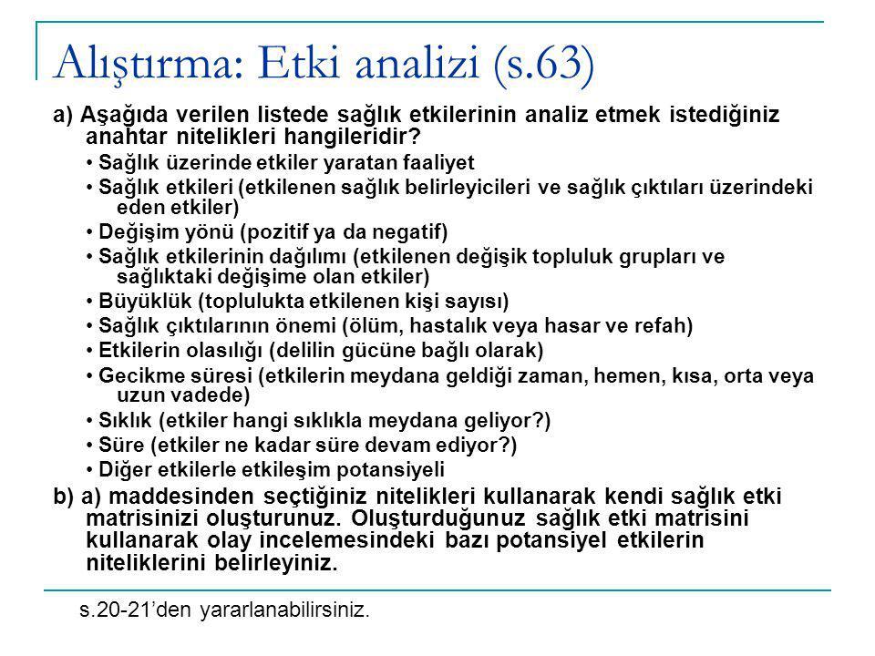 Alıştırma: Etki analizi (s.63) a) Aşağıda verilen listede sağlık etkilerinin analiz etmek istediğiniz anahtar nitelikleri hangileridir.