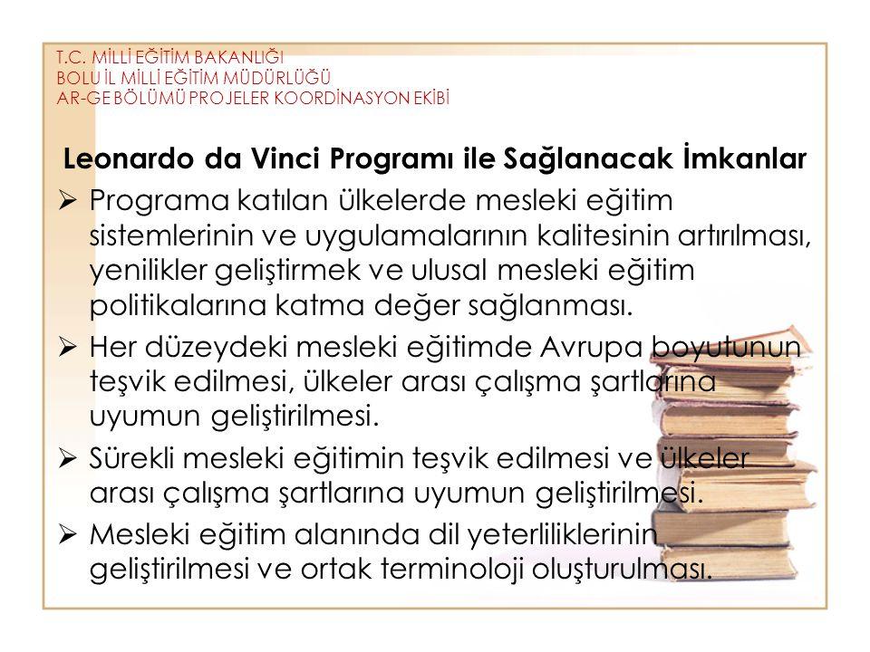 T.C. MİLLİ EĞİTİM BAKANLIĞI BOLU İL MİLLİ EĞİTİM MÜDÜRLÜĞÜ AR-GE BÖLÜMÜ PROJELER KOORDİNASYON EKİBİ Leonardo da Vinci Programı ile Sağlanacak İmkanlar