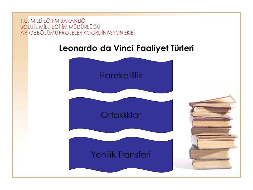 T.C. MİLLİ EĞİTİM BAKANLIĞI BOLU İL MİLLİ EĞİTİM MÜDÜRLÜĞÜ AR-GE BÖLÜMÜ PROJELER KOORDİNASYON EKİBİ Leonardo da Vinci Faaliyet Türleri Hareketlilik Or