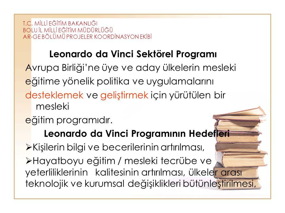 T.C. MİLLİ EĞİTİM BAKANLIĞI BOLU İL MİLLİ EĞİTİM MÜDÜRLÜĞÜ AR-GE BÖLÜMÜ PROJELER KOORDİNASYON EKİBİ Leonardo da Vinci Sektörel Programı Avrupa Birliği