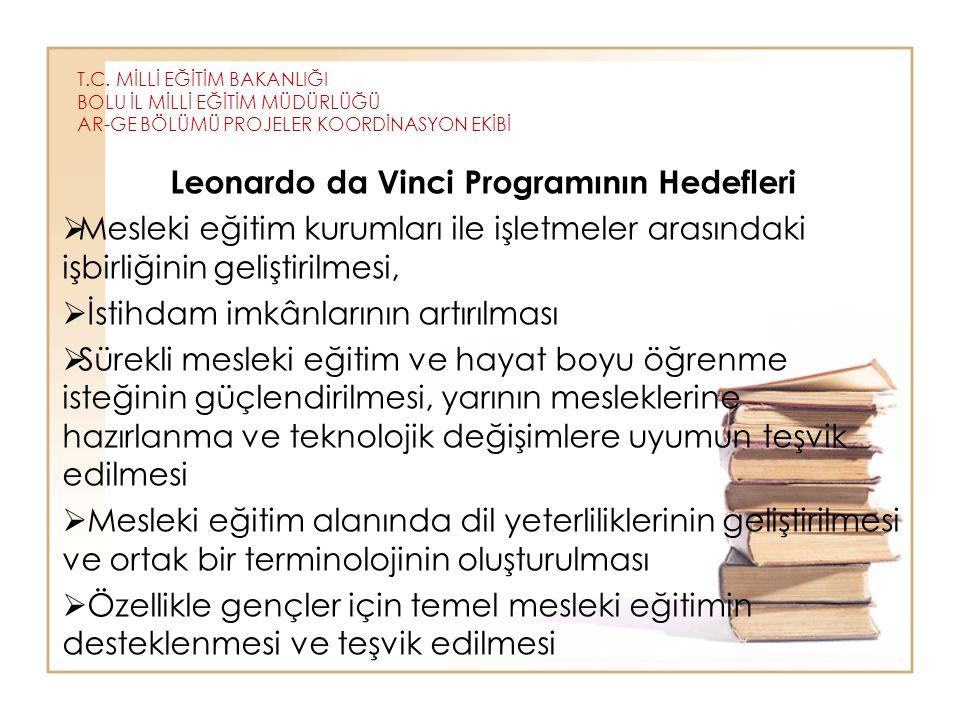 T.C. MİLLİ EĞİTİM BAKANLIĞI BOLU İL MİLLİ EĞİTİM MÜDÜRLÜĞÜ AR-GE BÖLÜMÜ PROJELER KOORDİNASYON EKİBİ Leonardo da Vinci Programının Hedefleri  Mesleki