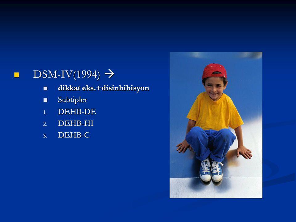 DSM-IV(1994)  DSM-IV(1994)  dikkat eks.+disinhibisyon dikkat eks.+disinhibisyon Subtipler Subtipler 1.