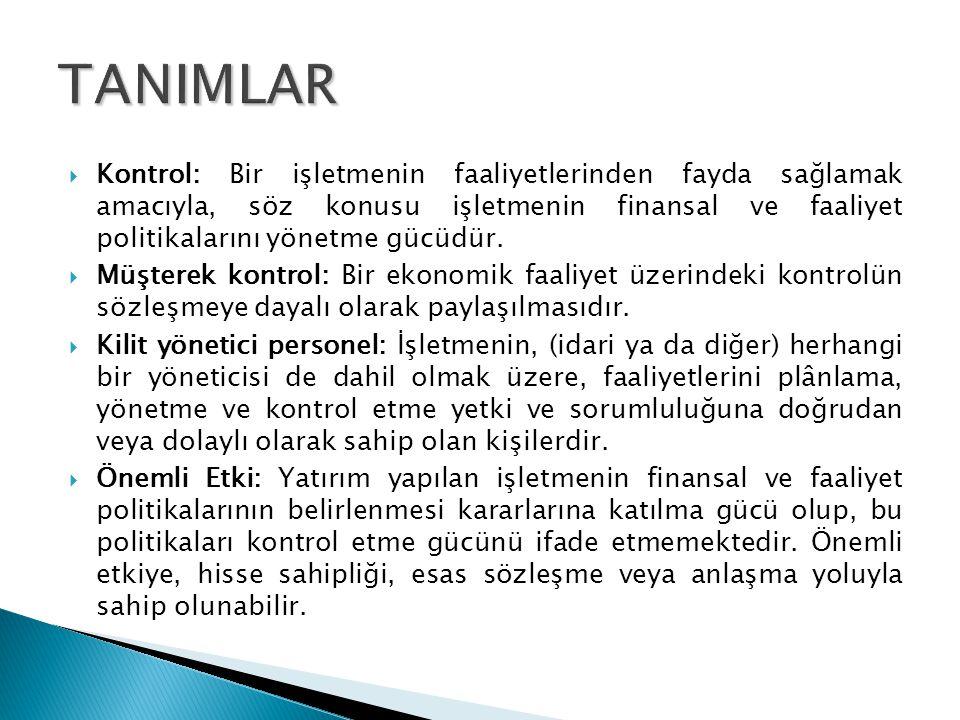  Kontrol: Bir işletmenin faaliyetlerinden fayda sağlamak amacıyla, söz konusu işletmenin finansal ve faaliyet politikalarını yönetme gücüdür.  Müşte